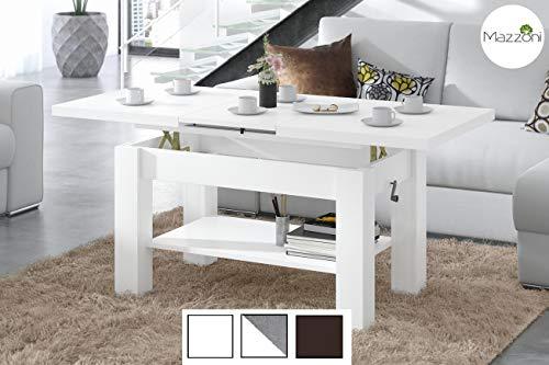 Design Couchtisch Tisch Astoria Weiß matt stufenlos höhenverstellbar 57-69cm ausziehbar 110-150cm mit Ablagefläche Esstisch