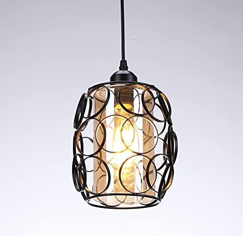 Lightess Lámpara de Techo Colgante Cristal Luz Vintage Industrial Metal E27 No...