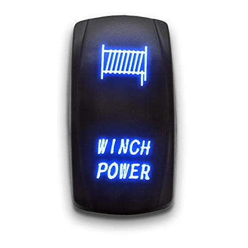 WINCH POWER - Blue - STARK 5-PIN Laser Etched LED Rocker Switch Dual Light - 20A 12V ON/OFF