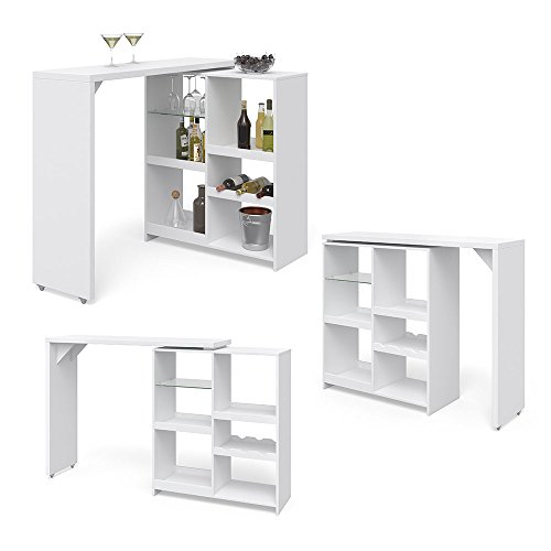 Vicco Bartisch Bar Vega Weiß Tresen Bartresen Stehtisch Tisch Tresentisch Bistrotisch Küche +++ FLEXIBEL STELLBAR +++ VIEL STAURAUM +++