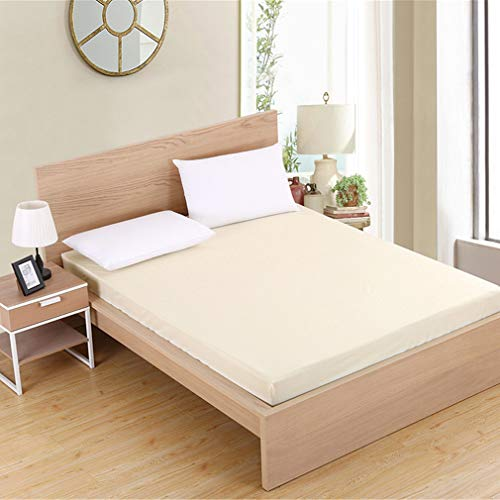 Nunubee Jersey Stretch Sábana Ajustable Poliéster algodón Altura del colchón de la Cama máx.25cm (90 x 200 cm,de Color Crema)