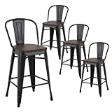 LSSBOUGHT Metal Barstools,Indoor-Outdoor Stackable Tolix Style Counter Stool with Wood Seat and Backrest Set of 4 (Black)
