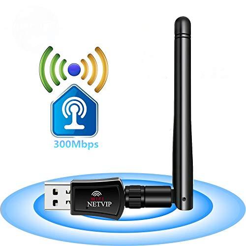 NETVIP WLAN Stick 300Mbit/s Wireless USB Adpater Signal Verstärker (2,4GHz, 2dBi Extern Antanne) LAN Netzwerke Karte WLAN Receiver für Windows 8/7/ XP/Vista/Mac OS