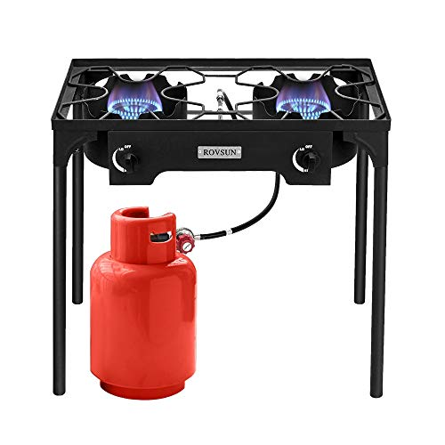 ROVSUN 2 Burner Outdoor Propane Gas Stove High Pressure, Stand Cooker for Backyard Cooking Camping Home Brewing Canning Turkey Frying, 20 PSI Regulator