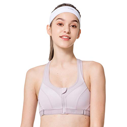 Yvette Limitless Damen Plus Size Sport BH High Impact Große Größen Reißverschluss Vorne Verschluss Busty Frauen für Laufen, Fitness, Yoga Gr. L Mehr, hellviolett