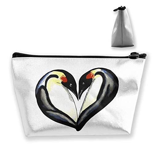 Pingouin Cœur Portable Maquillage Recevoir Sac Stockage Grande Capacité Poches Main Travel Wash Bag