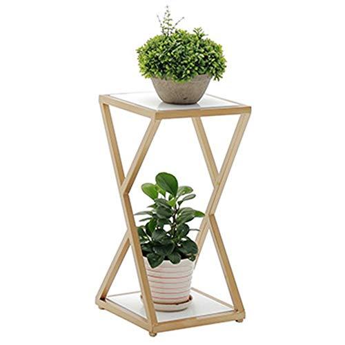 ZHANWEI växtblomstativ, massiv träpanel golvstående metall inomhus blomkrukor hållare, för sovrum vardagsrum balkong, 3 storlekar (färg: Guld, storlek: 30 x 30 x 100 cm)