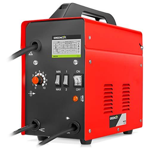 GREENCUT MIG100 - Soldador inverter electrico MIG hilo continuo con gas turbo ventilado, 120A Potencia Regulable, con Tecnología iGBT Máquina de Soldadora Portátil