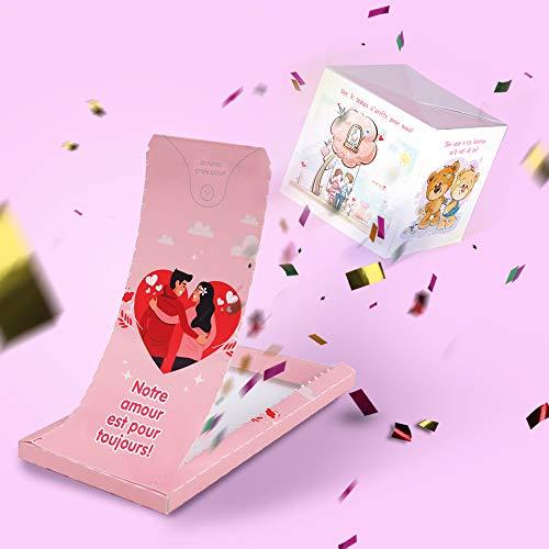 Tarjeta de San Valentín con texto en inglés «Buum!» para siempre, tarjeta de amor sorpresa de explosión de confeti, idea de regalo para San Valentín o cumpleaños