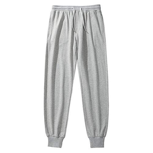 Amy Coulee Men's Sweatpants Comfortable Cotton Home Casual Pants with Pockets (Gray, M)