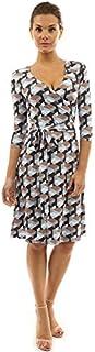 PattyBoutik Women Faux Wrap A Line Dress