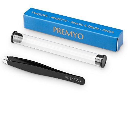 PREMYO Augenbrauen-Pinzette Profi Zupfpinzette Schräg mit Etui Optimal für Haar-Entfernung Edelstahl Rostfrei Präzisions-Spitzen Sicheres Greifen