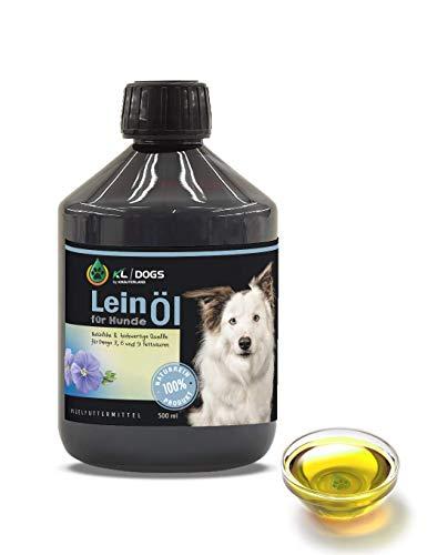 Kräuterland - Leinöl für Hunde 500ml - 100% rein kaltgepresst, wertvoll an Omega 3-6 - 9 Fettsäuren, aus 1 Pressung direkt vom Hersteller - ideal zum Barfen
