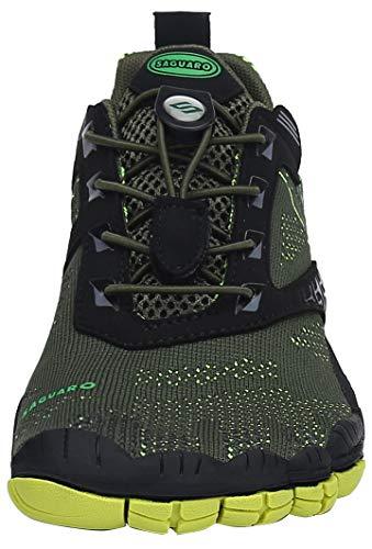 SAGUARO Hombre Mujer Barefoot Zapatillas de Trail Running Zapatos Minimalista de Deporte Cómodas Ligeras Calzado de Correr en Montaña, Verde 40 EU