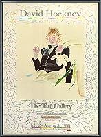 ポスター デビット ホックニー 白い花と黒い目のセリア 額装品 アルミ製ベーシックフレーム(ブラック)