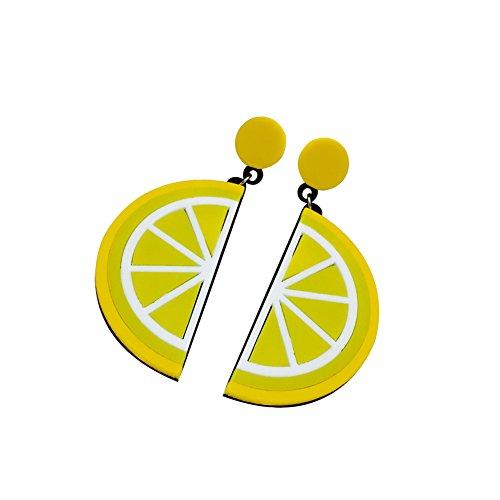 CAOLATOR Boucle d'oreille de Fruit en Acrylique Citron Jaune Femme/Amoureux/Petite-Amie/Fille pour Accessoires de Bijoux et Cadeau 1 Paires