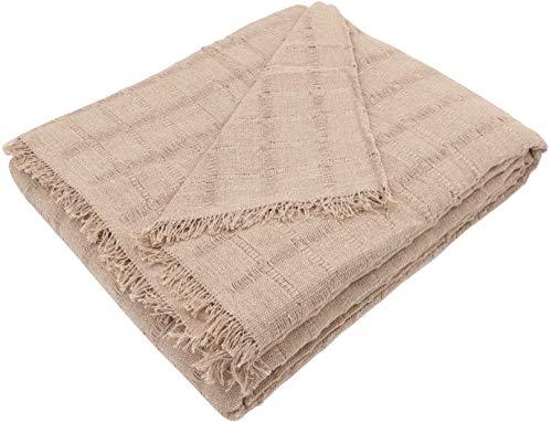 Regalitostv (180_x_260_cm, Beis) Colcha Multiusos Foulard Plaid Liso Mod: TORROX para Cama o sofá Fabricado EN ESPAÑA