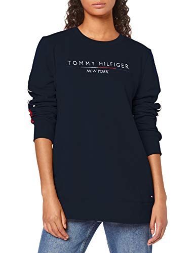Tommy Hilfiger Damen TH Essential Charlot C-NK LS Sweatshirt, Blau (Sky Captain 403), X-Small(Herstellergröße:XS)