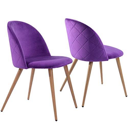 Coavas Esszimmerstühle Küchenstühle Wohnzimmerstühle 2er Set Samt Weich Kissen Sitz und Rücken mit Metallbeinen für ESS- und Wohnzimmer, Lila