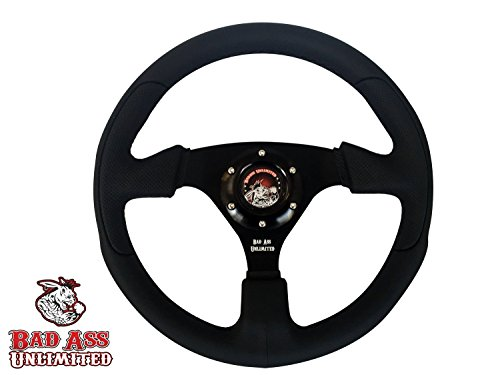 BLACK LEATHER 6 HOLE STEERING WHEEL FOR UTV - SXS
