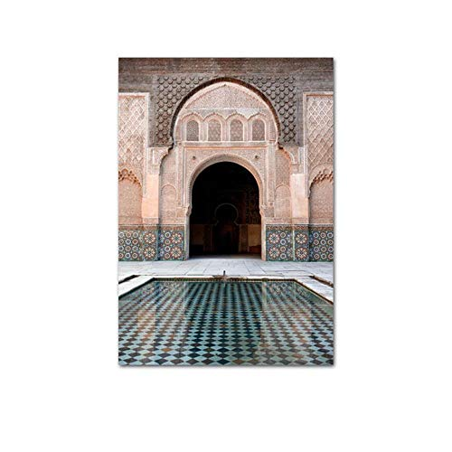 Marokkaanse boog oude deur canvas schilderij islamitische gebouw muur poster Hassan II moskee print moslim moderne decoratie foto, foto F, 60x90cm geen frame
