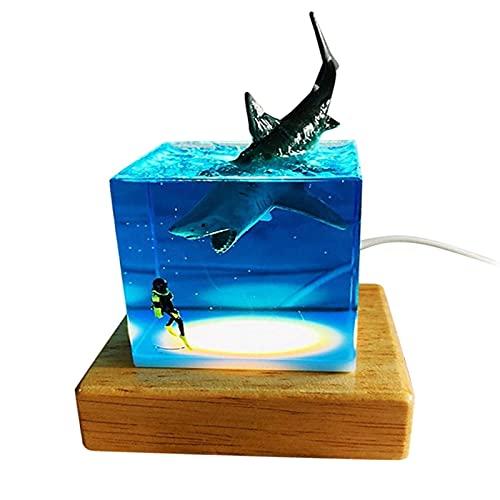 N\\ A LED 3D Shark Nachtlicht Shark Diver Dekoration Cube Nachtlicht USB Nachttischlampe Neuheit Geschenk Room Decor Home Office Decor Geschenke 20×15cm