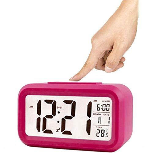 Winnes Wecker Digital, Großer HD Bildschirm Intelligente Nachtlicht Wecker Alarm Clock Für Kinder Jugendliche Mode Junge LED Hintergrundbeleuchtung Display LCD Digital Elektronische Wecker(Rot