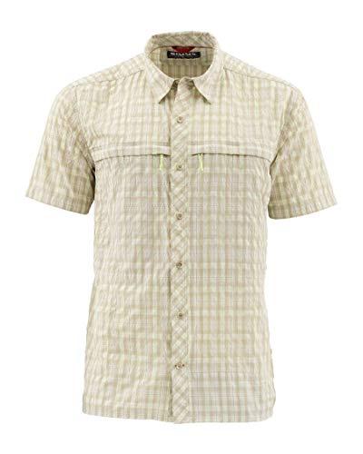 Simms Men's UPF 30+ Stone Cold Cooling Fishing Shirt, Khaki Plaid L