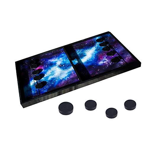 XTBL Tisch Hockey Spielzeug Interaktive 2in1 Eltern-Kind Interaktion Katapult Brettspiel Tischhockey Holz Portable Schachbrett-Set Partyspiele Desktop-Spiel Sling Puck (0,98 × 0,31 Zoll)