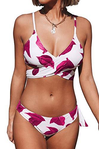 CUPSHE Damen Push Up Bikini Set Blättermuster Crossover Bademode Zweiteiliger Badeanzug Rot/Weiß M