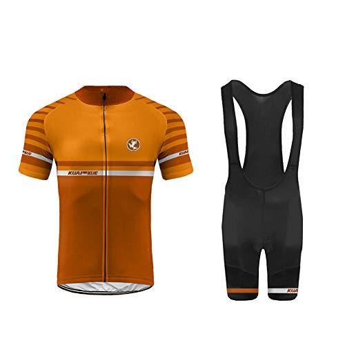 Uglyfrog Maillots de Bicicleta Conjunto de Verano Hombres Ropa de Ciclo Jersey de Manga Corta + Pantalones Cortos Acolchados Cómodo Respirable Secado Rápido DXML03