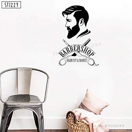 Tianpengyuanshuai Wandtattoos Friseur-Shop Logo Vinyl Wandaufkleber selbstklebend Männer Salon Fenster Dekoration Haarschnitt abnehmbar 42x62cm
