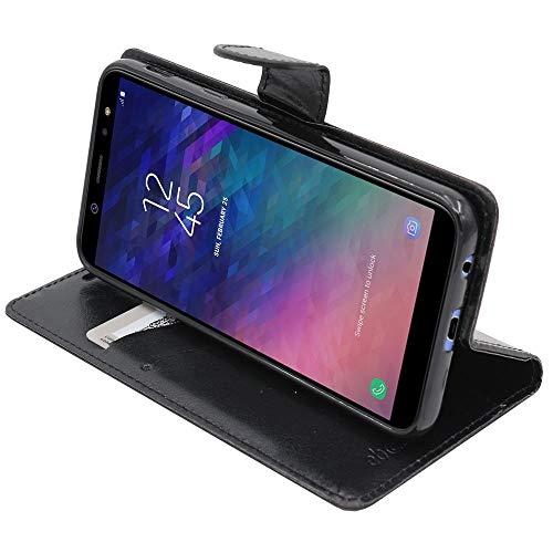 ebestStar - kompatibel mit Samsung Galaxy A6 2018 Hülle SM-A600F Kunstleder Wallet Hülle Handyhülle [PU Leder], Kartenfächern, Standfunktion, Schwarz [Phone: 149.9 x 70.8 x 7.7mm, 5.6'']