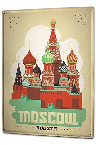 BIT TINBG HGNGHN L Metropole Moscow Russia Vintage Alluminio Metallo Targa di avvertimento Poster Wall Art Sign 20 x 30 cm