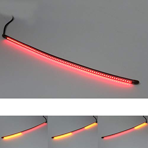 MC Motoparts AMP-Z Motorcycle LED Integrated Amber Turn Signal Indicator Brake Tail Light Strip Smoke Tube 490mm Length