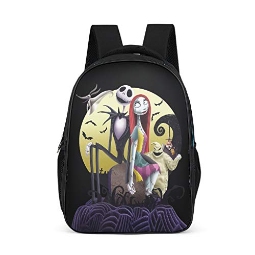 Nightmare Before Christmas Hallowen Women's&Men's Backpacks Boys Girls School Book Bags for Travel Work Bright Gray OneSize