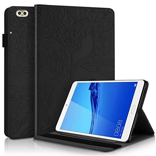 TTNAO Funda para Huawei Mediapad C5 Lite 8 Pulgadas 2020,Ultra Slim Inteligente PU Leather Caso Flip Wallet Case Anti-Choques Anti- Arañazos Carcasa,Arbol de la Vida(Negro)