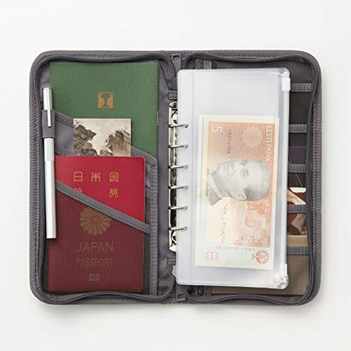 無印良品ポリエステルパスポートケース・クリアポケット付(新)グレー・約23.5×13×2.5cm02869137