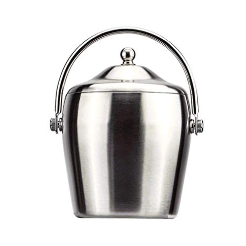 WYBFZTT-188 Cubo de Hielo de Doble Pared, Cubo de Cerveza for Fiestas, Acero Inoxidable con Tapa (Plateado) (Size : A13.7 * 11.5 * 20cm)