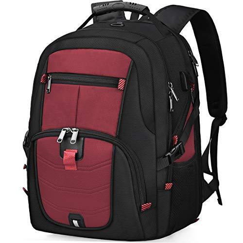 Laptop Notebook Rucksack Herren 17 Zoll Schulrucksack mit USB Ladeanschluss Grosser Wasserdicht Arbeit Rucksack Taschen 17,3 Zoll Business Backpack Daypack für Männer Schüler Jungen Teenager Rot