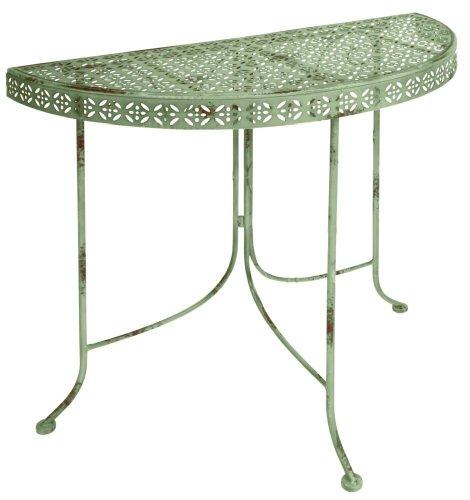 Esschert Design Tisch im Vintage Stil, halbrund, ca. 78 cm x 37 cm x 76 cm