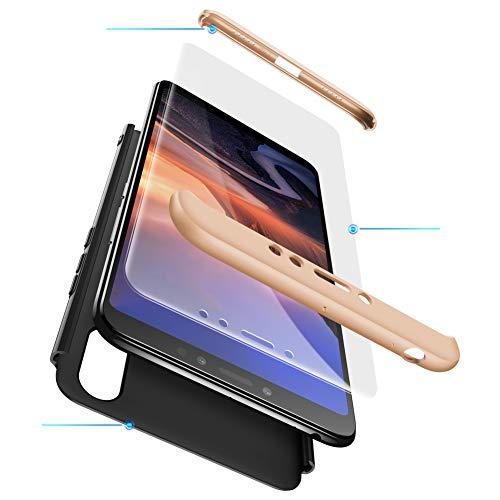 BIKANA Funda Compatible para Xiaomi Mi MAX 3 Carcasa[1*Cristal Templado] 3 in 1 Slim 360°Full-Protección PC Rígide Textura Mate Antideslizante Anti-caída Caso Cover-Oro Negro