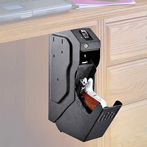 MJZYP Cajas Fuertes para Armas de Gabinete de Escritorio, Biométrica de Huellas Dactilares y Caja de Seguridad para Pistola con Cerradura de Llave de Repuesto