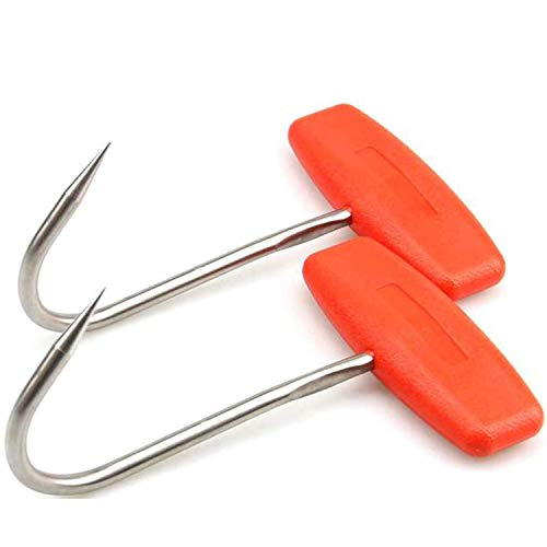 TIHOOD 2 ganchos de carne para carnicería, ganchos en forma de T con mango de acero inoxidable de 15,24 cm (2 unidades), color naranja