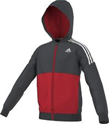 adidas Clima365Gear Up Giacca con Cappuccio, Ragazzo, Gear Up Kapuzenjacke, Grau/Rot/Weiß, 116