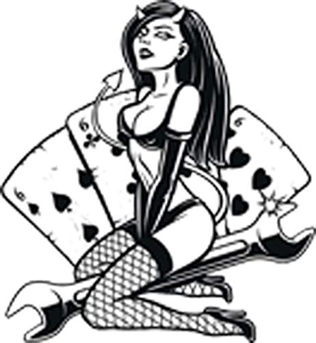 Sexy Devil Girl Pinup Model Wrench Cartoon Vinyl Sticker (2' Tall, Cards)