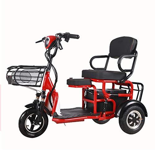 MCBF Doble Ancianos Ocio Electrico Triciciclo Scooter Plegable Scooter Eléctrico Adulto Puede Traer Niños Parent-child Coche