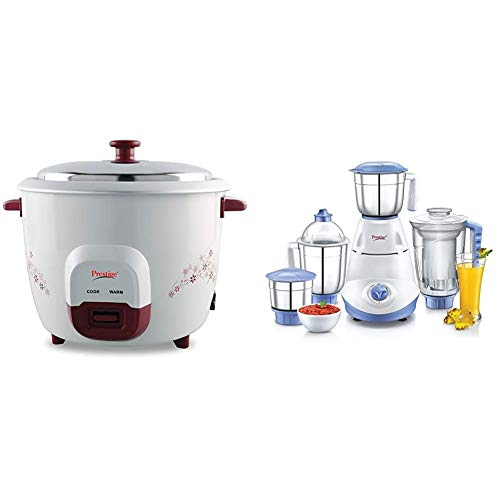 Prestige PRWO 1.0 Red Colour Rice Cooker and Iris 750 Watt Mixer Grinder with 3 Stainless Steel Jar...