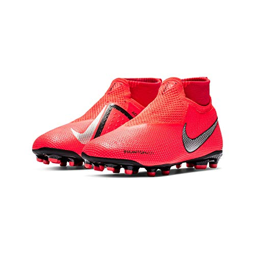 Nike Performance Phantom Vision Elite DF MG Fußballschuh Kinder neonrot/Silber, 4Y US - 36 EU - 3.5 UK
