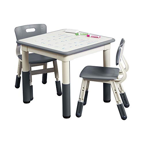 ECR4Kids Square Resin Dry-Erase Activity Table with 2 Chairs, Indoor Kids...